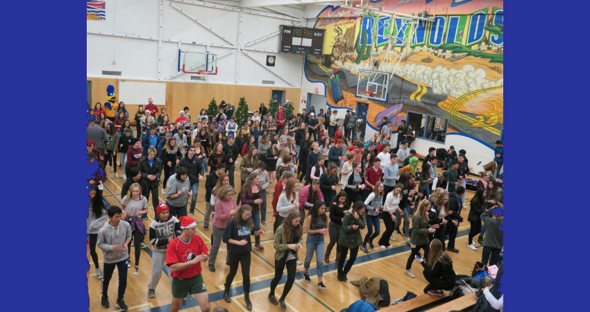 Line Dancing at Winter Assembly