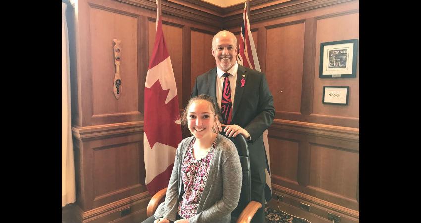 Saryn (Grade 9) with Premier Horgan